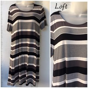 Loft Striped Soft Jersey Dress Large